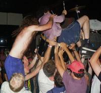 drum set crowd-surf