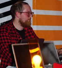 Dan Deacon on laptop