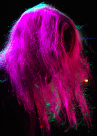 J's locks under a pink light