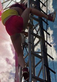 climbing the scaffolding
