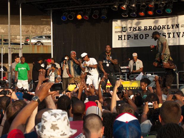 from left: Buckshot, Spliff Star, Steele, Busta Rhymes, Tek on shoulders