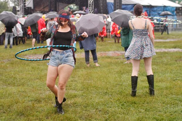 hula-hooping in the rain