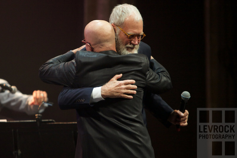 Letterman & Shaffer hugging