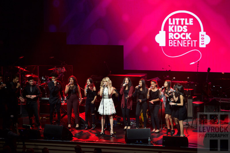 Kristin Maldonado of Pentatonix singing with Little Kids Rock students from Jersey City